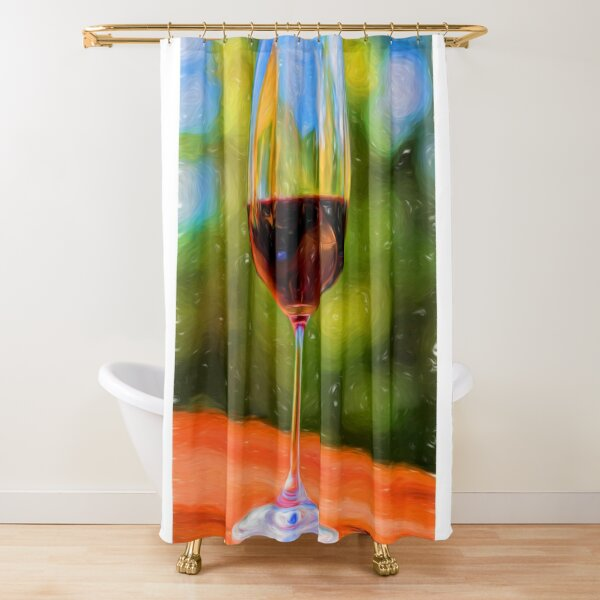 red wine shower curtains redbubble