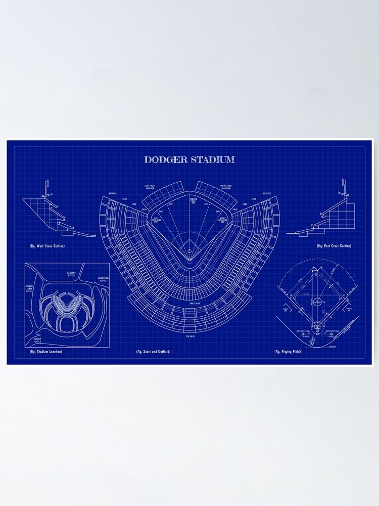 dodger stadium blueprint dark blue poster von bgalaxy redbubble