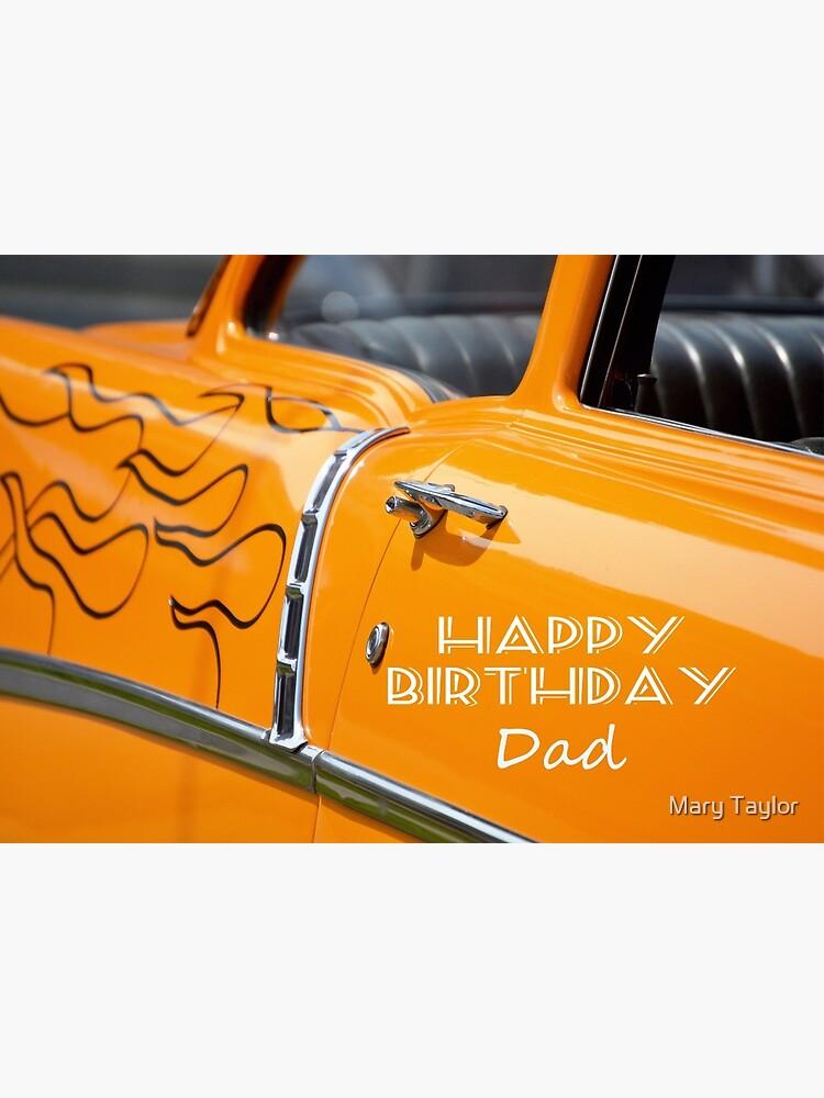 Hot Rod Alles Gute Zum Geburtstag Papa Orange Mit Flammen Grusskarte Von Gableend Redbubble