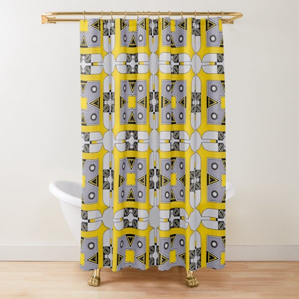 yellow brown shower curtains redbubble