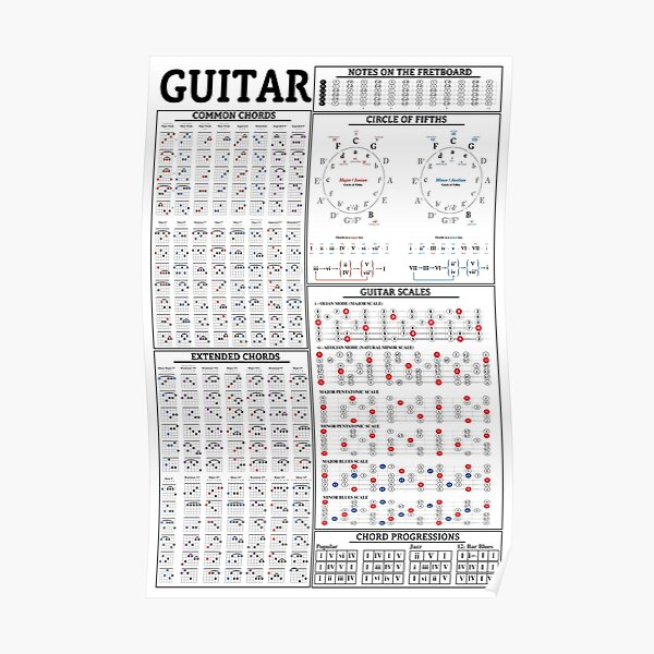 guitar knowledge posters redbubble
