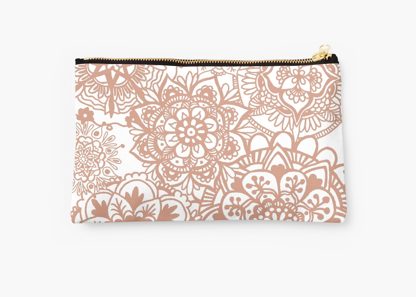 rose gold mandala pattern clutch purse pouch