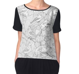 'Maple Tree Birds Adult Coloring Page' Women's Chiffon Top by csforest