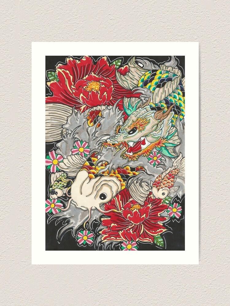 Koi Dragon With Koi Fish Art Print By Thoricartist Redbubble