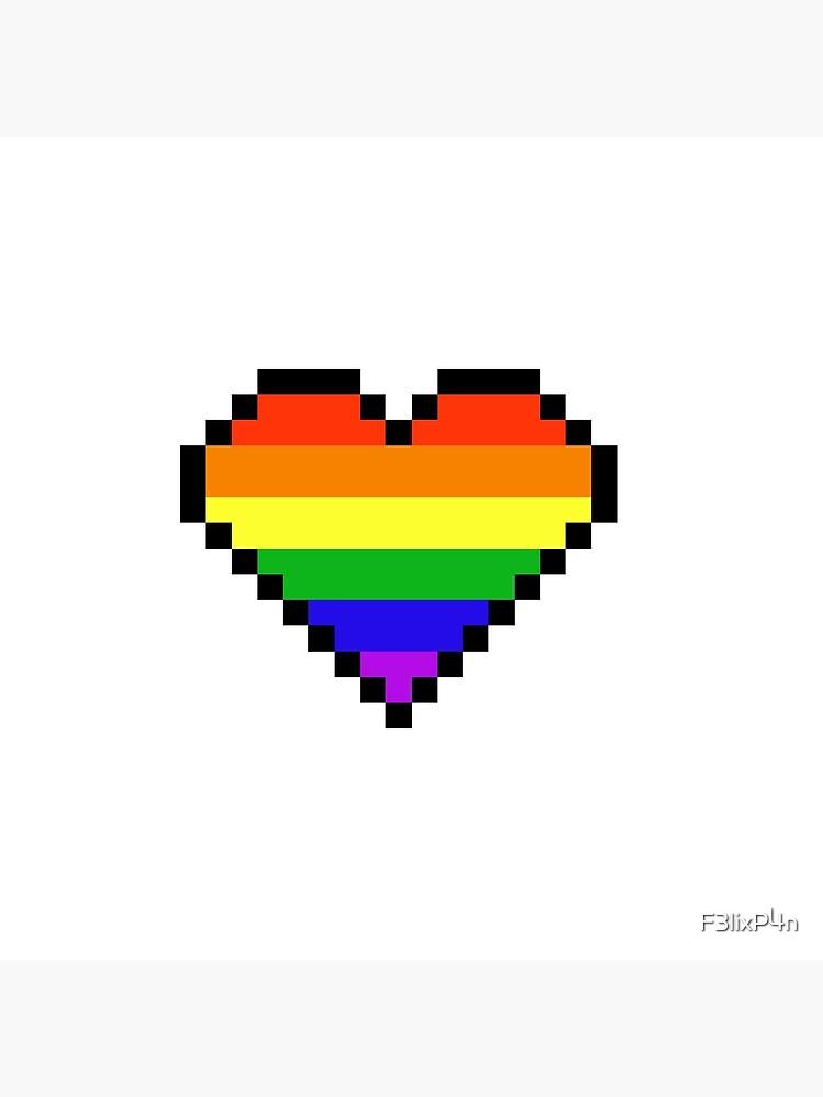 Carte De Vœux Coeur De Pixel Arc En Ciel Par F3lixp4n Redbubble