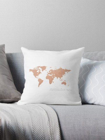 Rose Gold Foil World Map  Matthew 28   Throw Pillows by Thousand     Rose Gold Foil World Map  Matthew 28  by Thousand Word Graphics