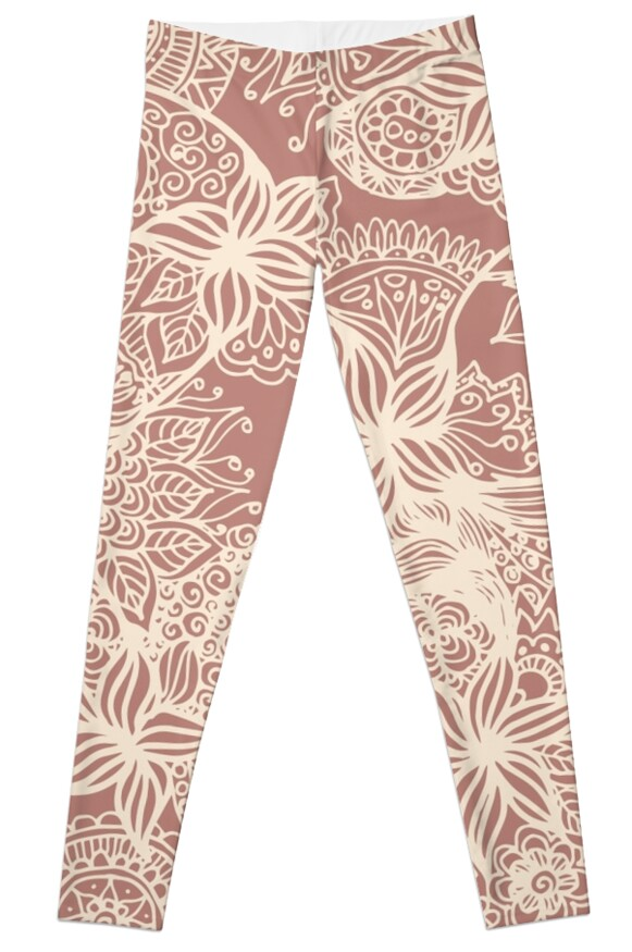 Rose gold floral zentangle doodles doodle art leggings pants yoga