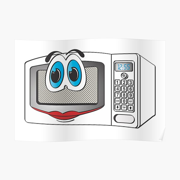 oven microwave cartoon kitchen appliance cooking radarange posters redbubble