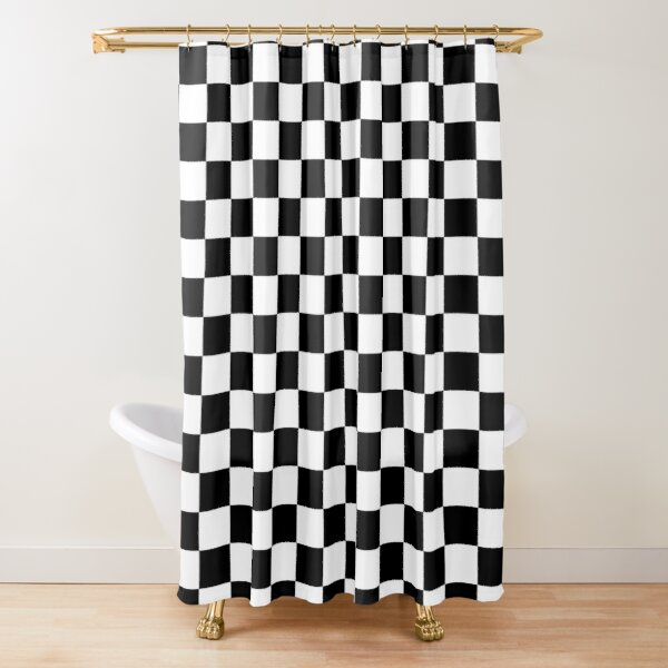 black and white checkerboard pattern shower curtain by rewstudio redbubble