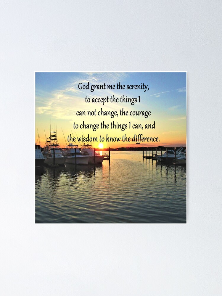 sunset over the lake serenity prayer poster by jlporiginals redbubble