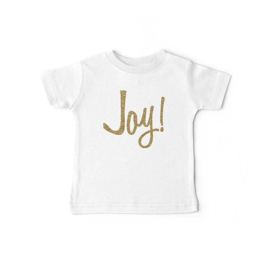 Faux Gold Glitter JOY! Baby Tees