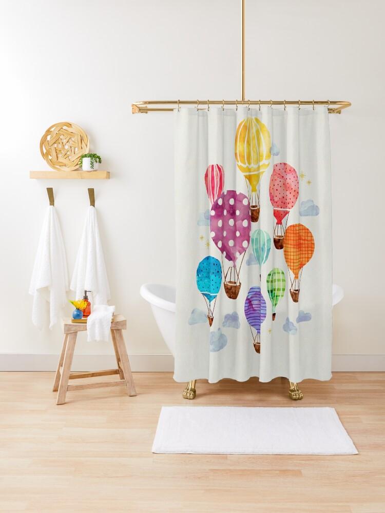hot air balloon shower curtain by weirdoodle redbubble