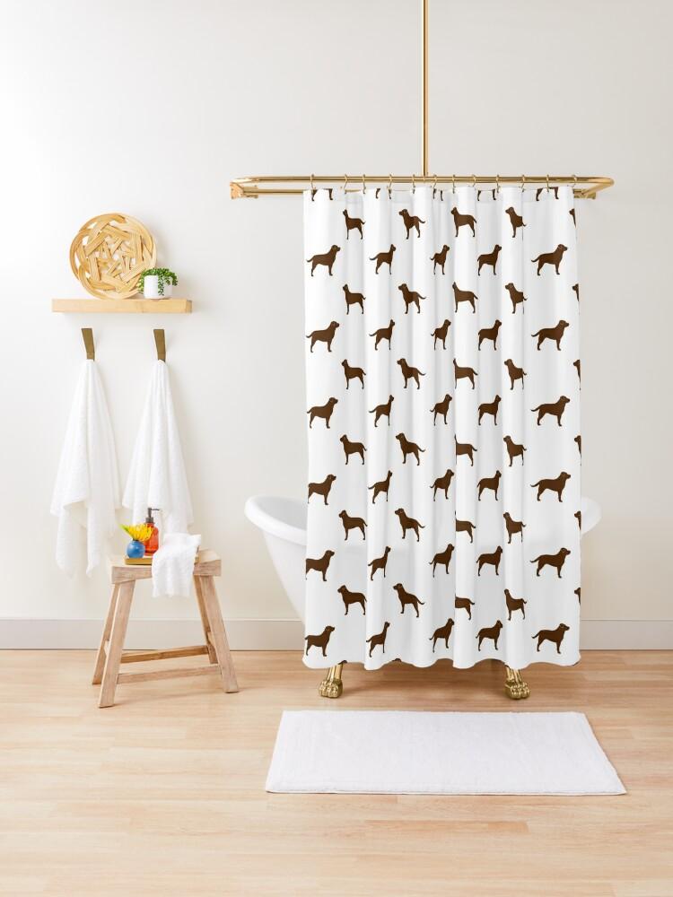 chocolate labrador retriever silhouette s shower curtain by shortcoffee redbubble