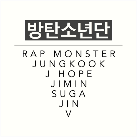 """Download """"BTS 방탄소년단 with Members Names"""" Art Print by GirlWithaBlog ..."""