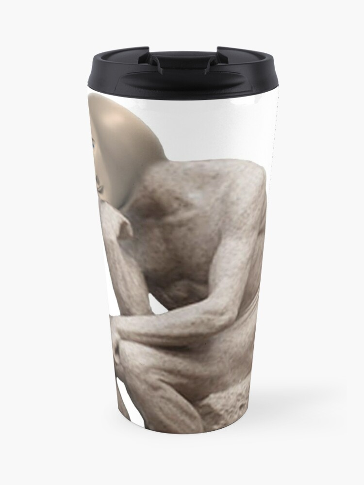 Surreal Thinker Meme Man Travel Mug By Jotatopotato Redbubble