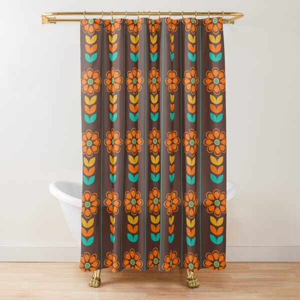 retro seventies shower curtains redbubble