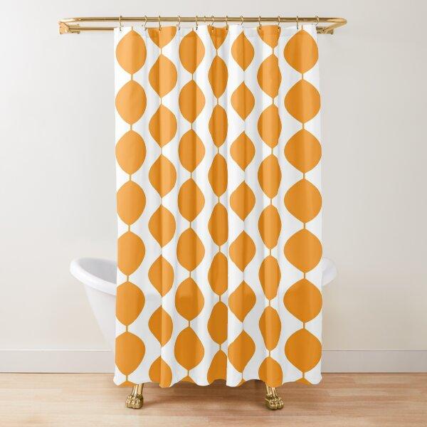 mid century modern retro 60s waves pattern yellow orange pure shower curtain by makanahele redbubble