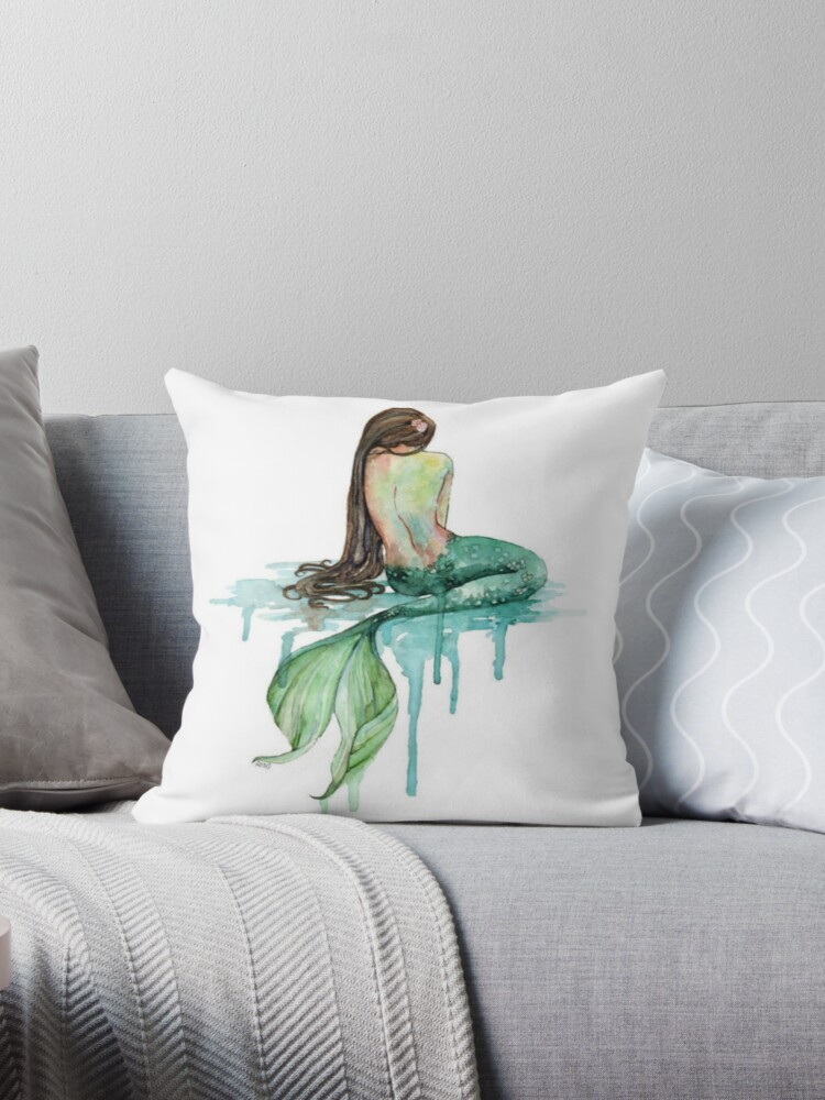 mermaid throw pillow by moviesup redbubble