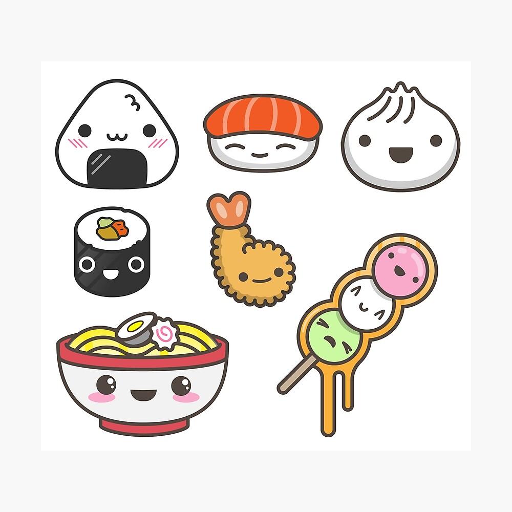 Kawaii Japan Food Poster By Chibighibli Redbubble