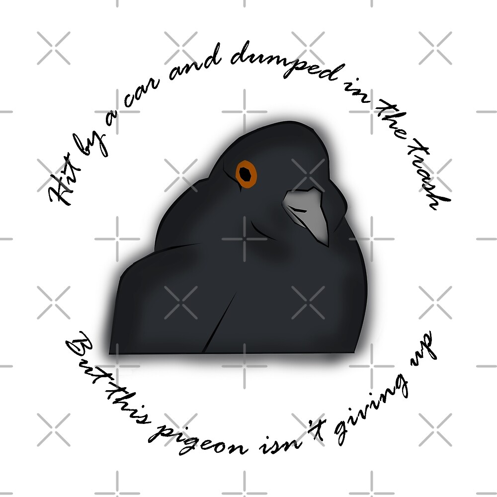 Pigeon Meme Hit By A Car And Dumped In The Trash But By