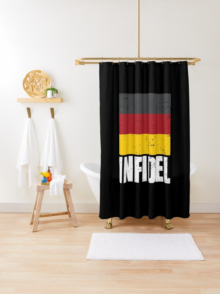german infidel word with germany flag grunge black white red and yellow on black background hd high quality shower curtain by iresist redbubble