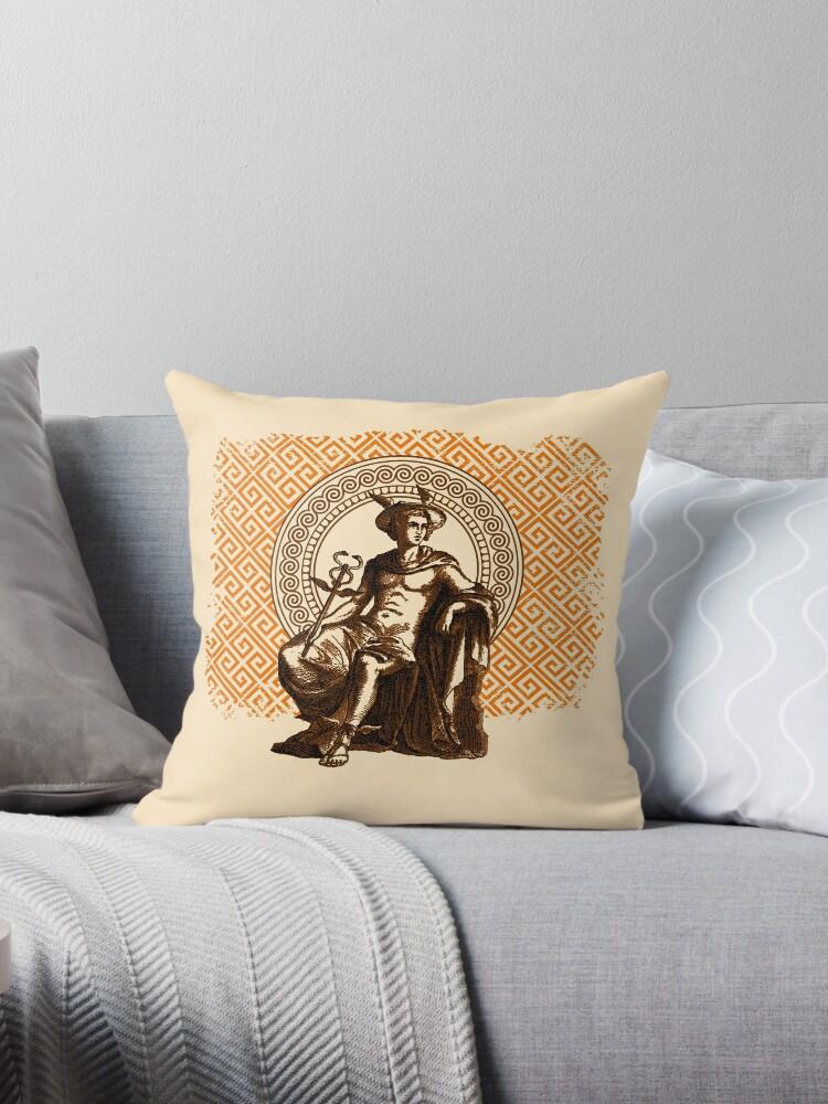 hermes ii orange throw pillow by mellamomateo redbubble