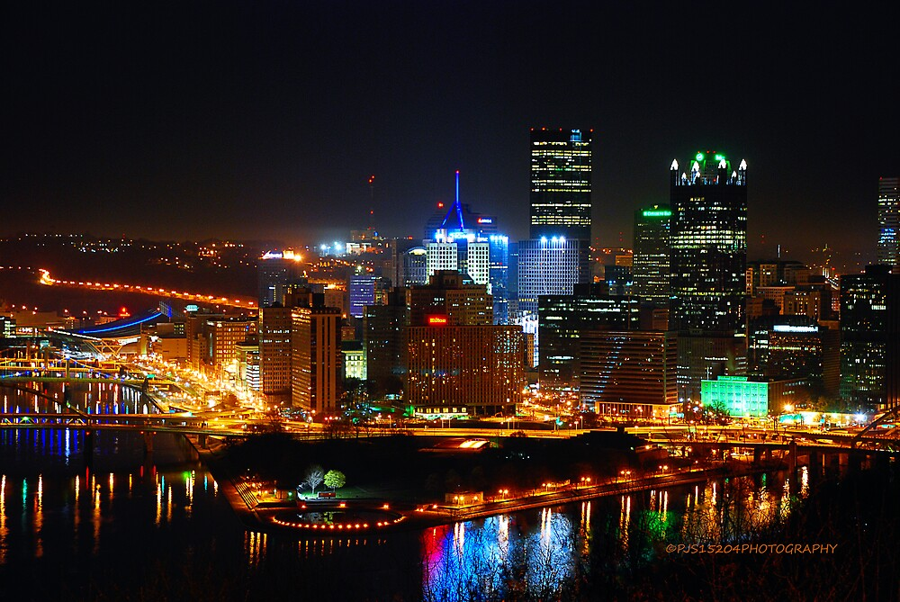 Pittsburgh Pennsylvania By Night By PJS15204 Redbubble