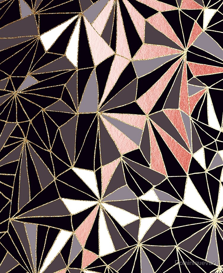 Stylish Art Deco Geometric Pattern Black Coral Grey And Gold Abstractart Ipad Case Skin By Dominiquevari Redbubble
