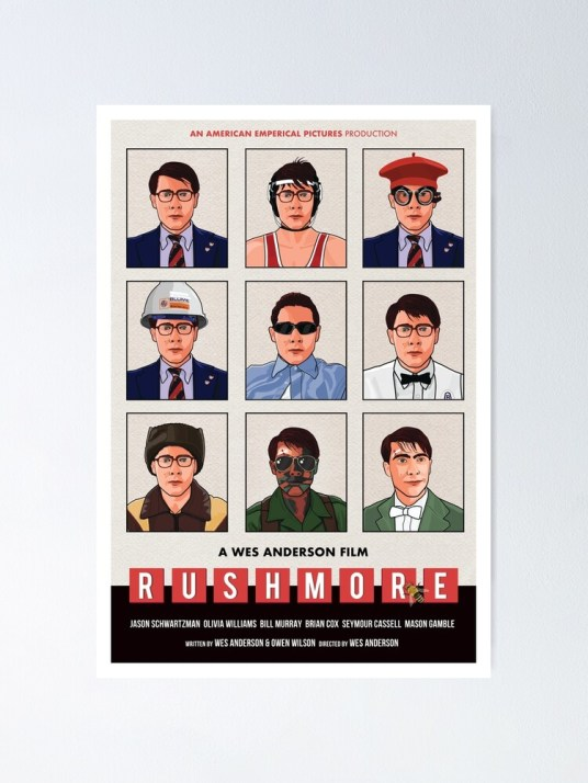 """Wes Anderson's """"Rushmore"""" movie poster"""" Poster by cwayers 