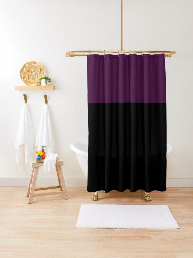 color block purple and black shower curtain by wordznart redbubble