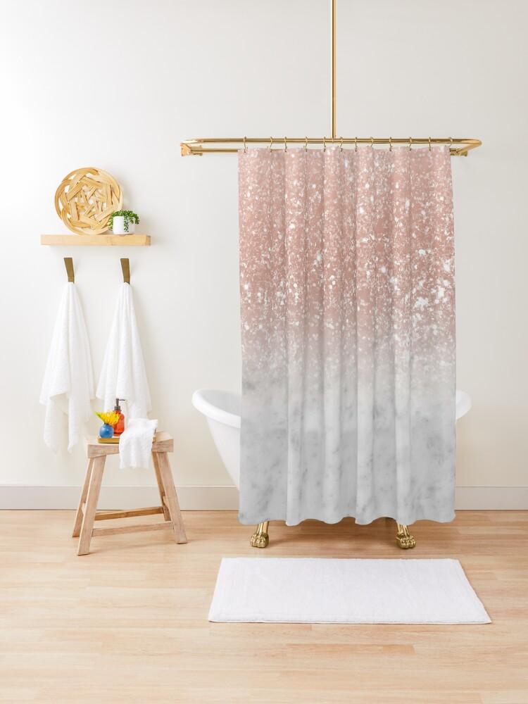 weisser marmor rosegold ombre glitter glam 1 shiny gem decor art duschvorhang von anitabellajantz redbubble