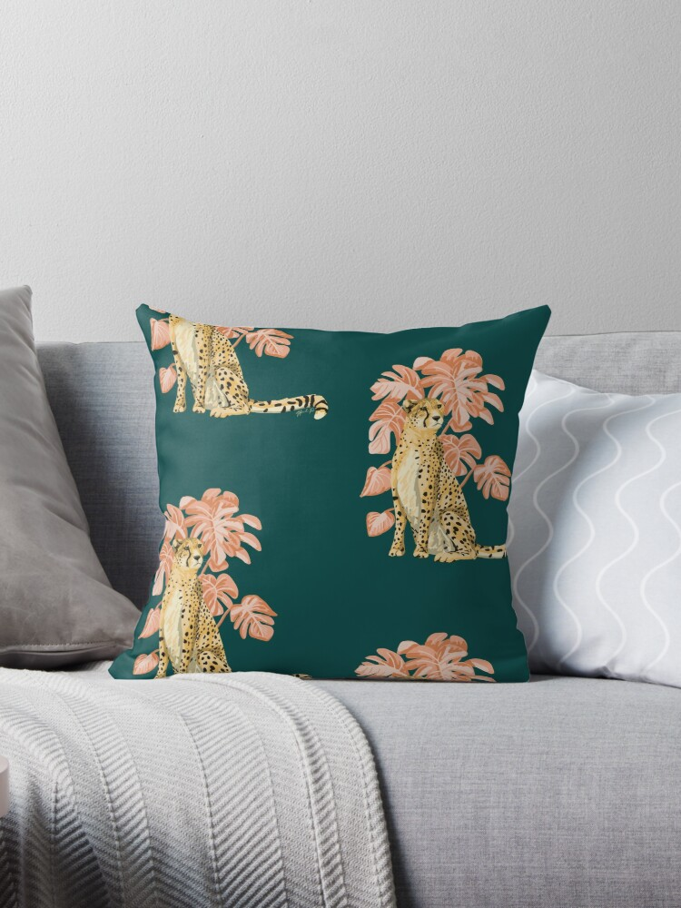 pink palm cheetah throw pillow by pugnpearl redbubble