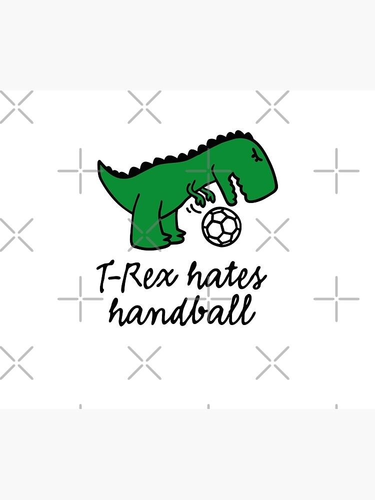 t rex hates handball ball lustige dinosaurier dino bettbezug von laundryfactory redbubble