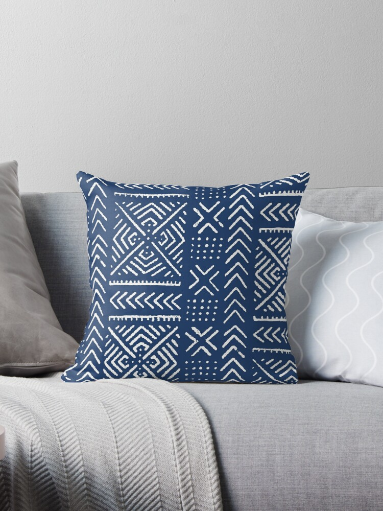 line mud cloth dark blue throw pillow by tltextiles redbubble