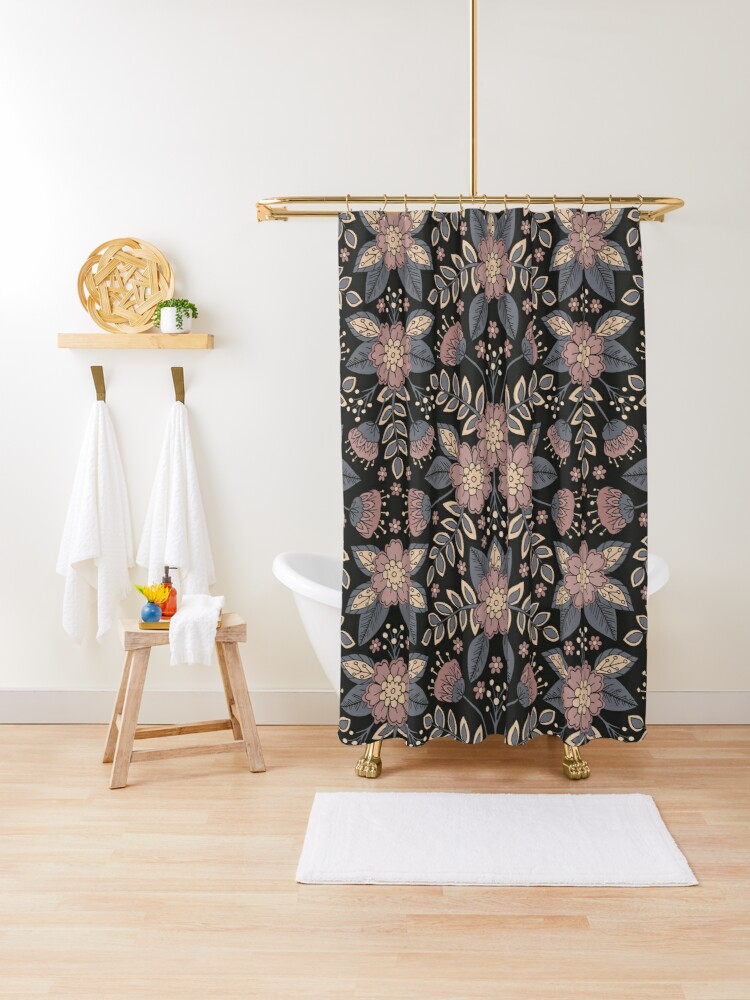 mauve blue gray and black floral shower curtain by somecallmebeth redbubble