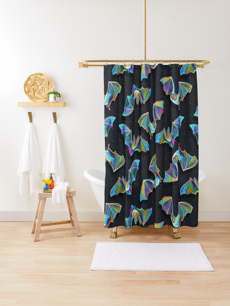 psychedelic bat pattern by robert phelps shower curtain by robertphelpsart redbubble