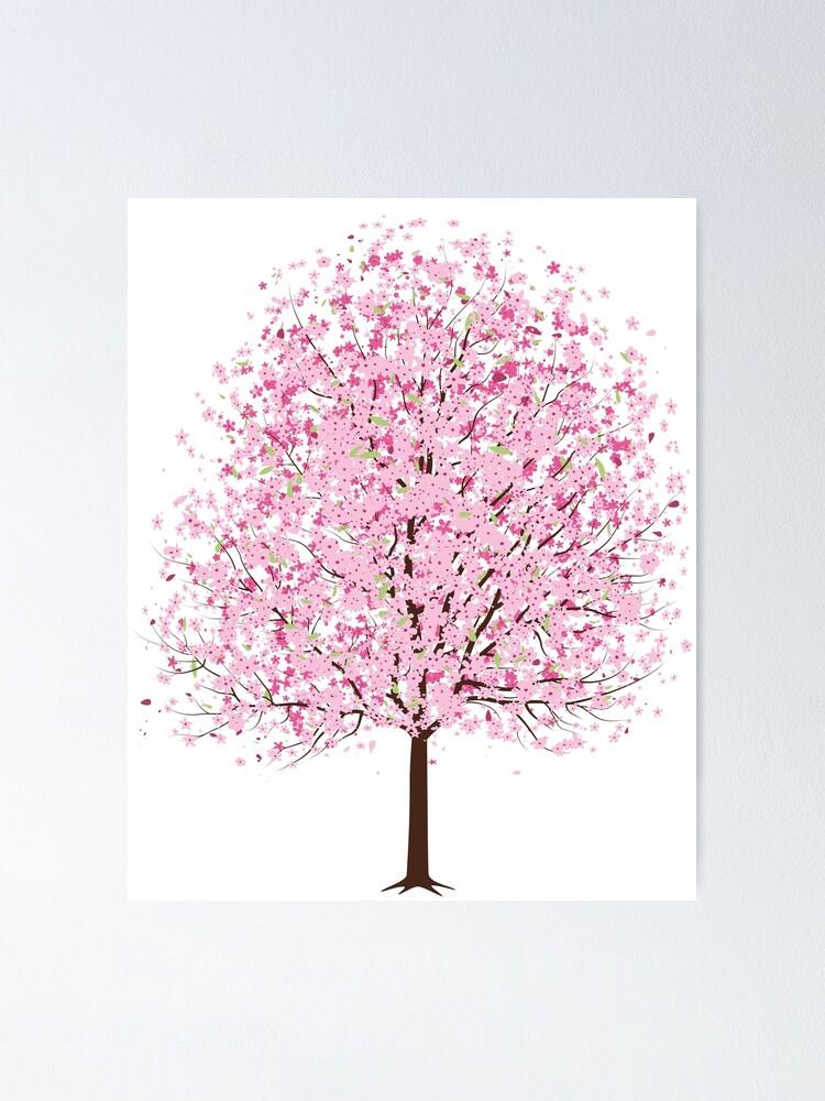 Poster Arbre De Fleur De Cerisier Japonais Par Magarizad Redbubble