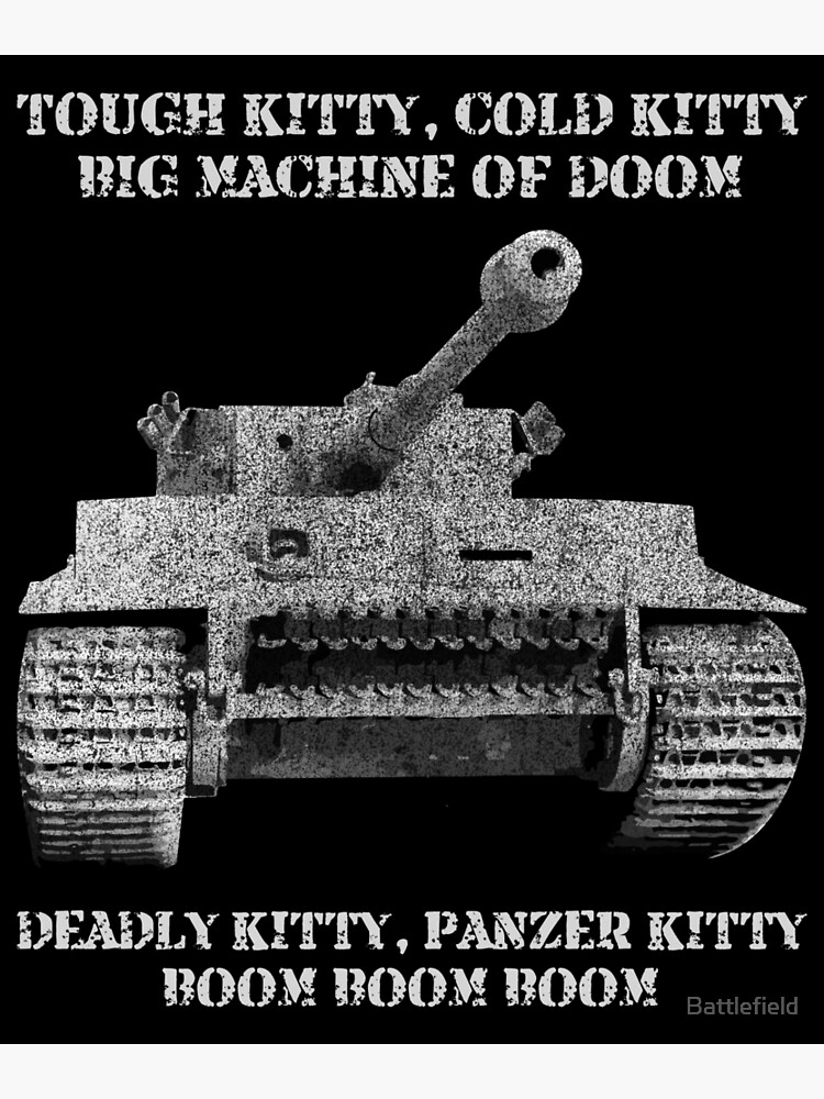 Tiger Panzer Tank Meme Gift Tough Kitty Cold Kitty Greeting Card