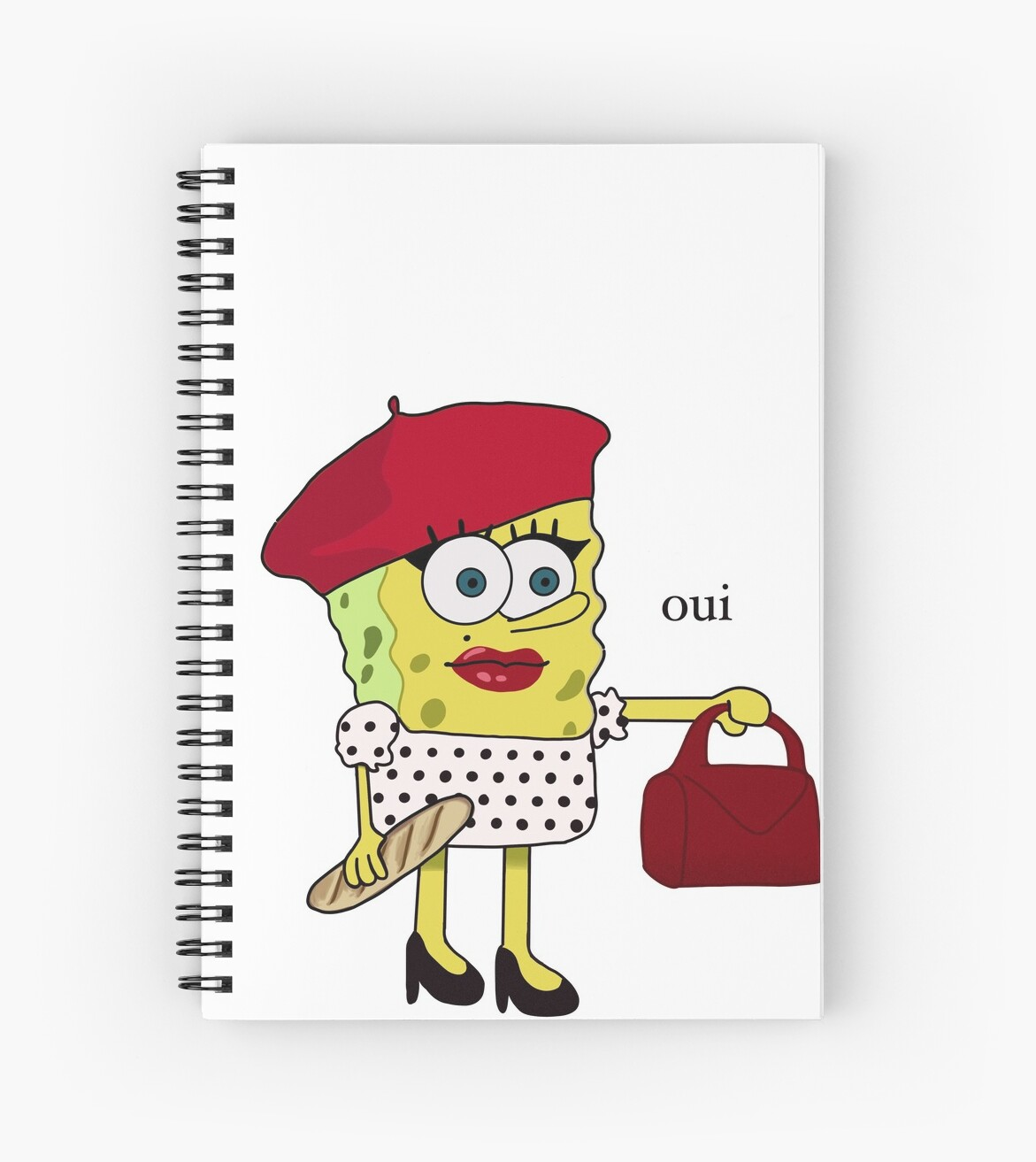 French Spongebob With Oui Spiral Notebook By Peytonimore Redbubble