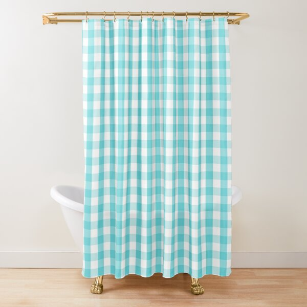 blue and white gingham shower curtain by melanderdesigns redbubble