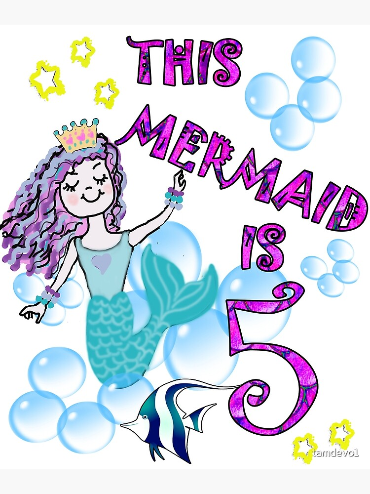 Birthday 5th Mermaid Cards Journals Gifts For Five Year Old Girl Gift Greeting Card By Tamdevo1 Redbubble