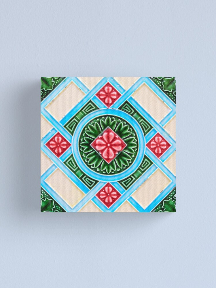 peranakan floral tile canvas print by ernstc redbubble