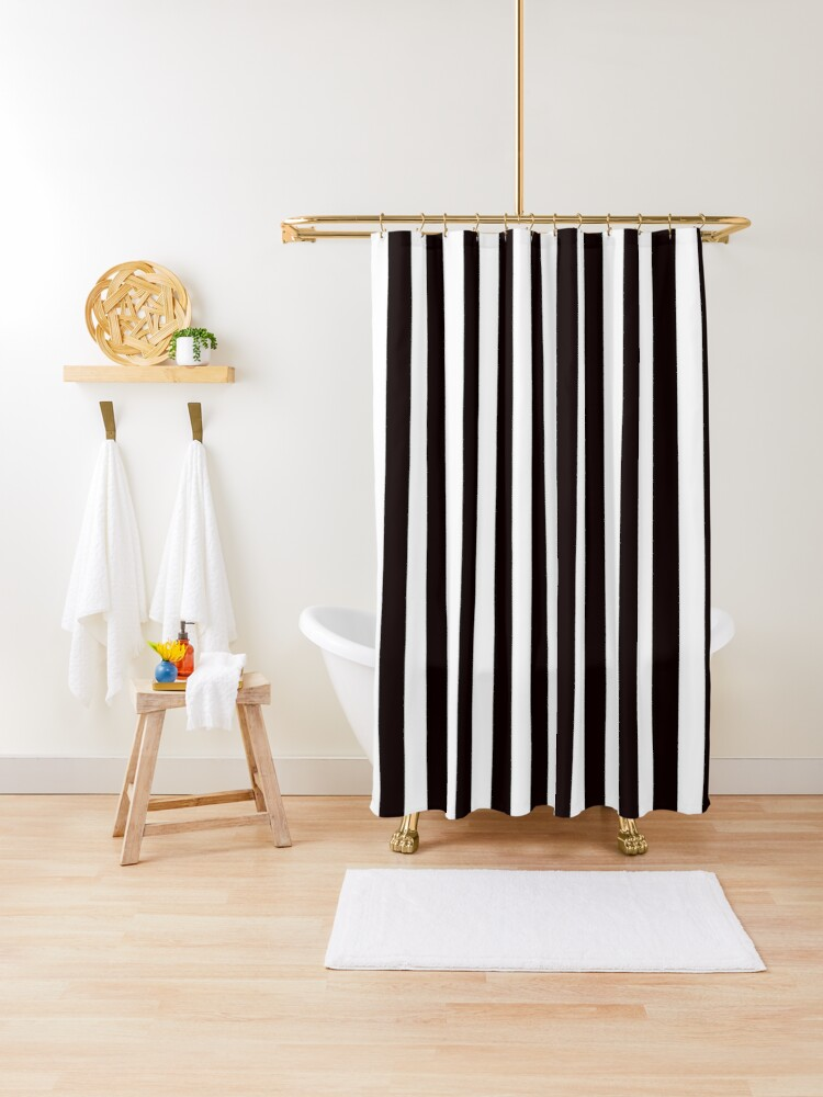 redbubble black and white striped shower curtain shower curtain by stickersandtees redbubble