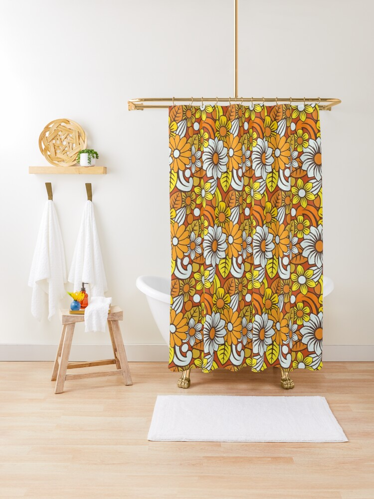 retro 70s flower pattern shower curtain by yellowcity806 redbubble