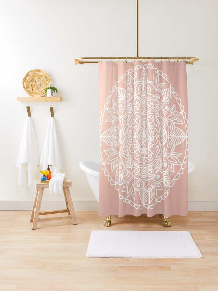 white mandala on rose gold shower curtain by julieerindesign redbubble