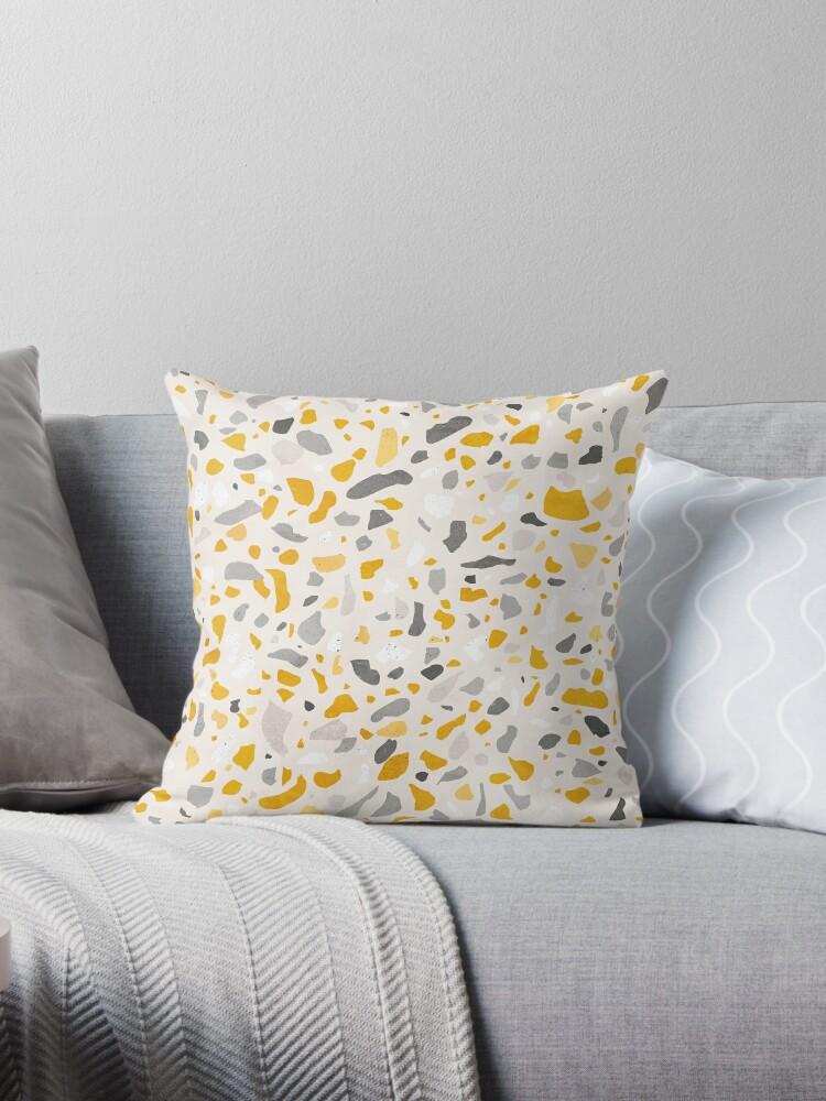 terrazzo memphis vintage mustard yellow white gray beige throw pillow by sylvaincombe redbubble