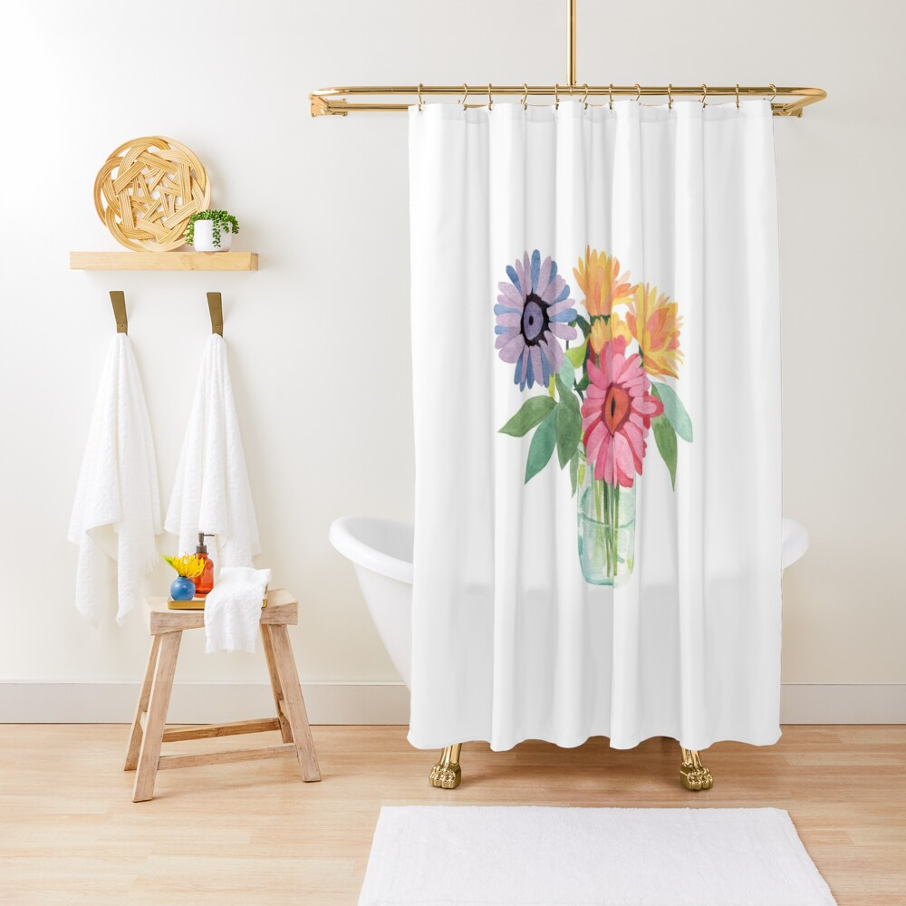 flowers in a mason jar shower curtain by peacelettering redbubble