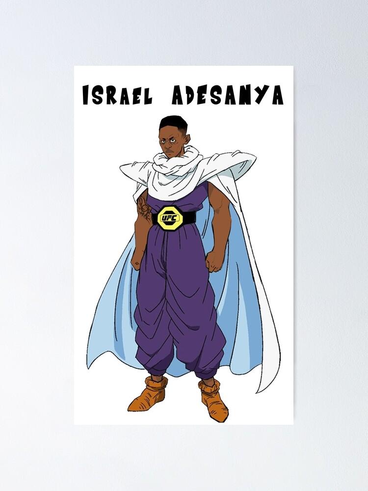 israel adesanya dragon ball z poster von elijahsdesigns redbubble