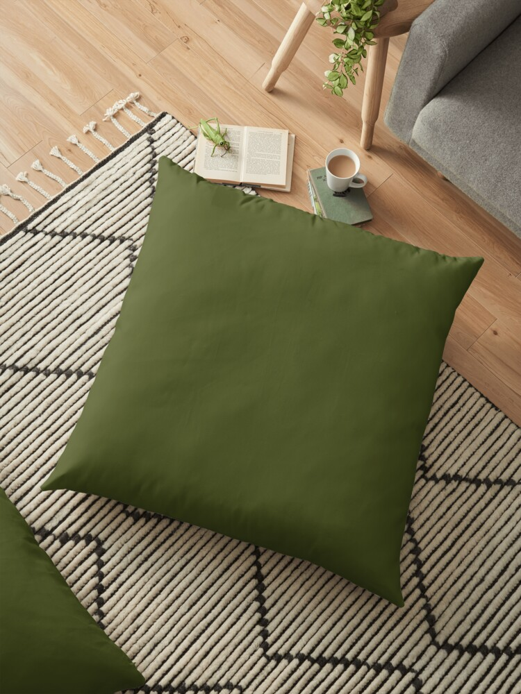 olive green accent solid color decor floor pillow by garaga redbubble