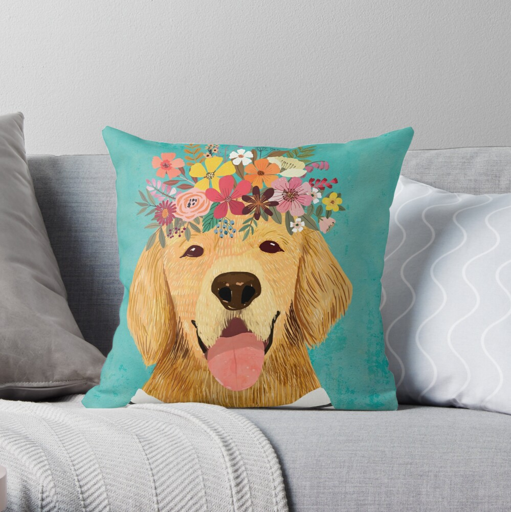 golden retriever dog with flower crown throw pillow by miacharro redbubble